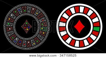 Flare Mesh Casino Roulette Icon With Glare Effect. Abstract Illuminated Model Of Casino Roulette. Sh