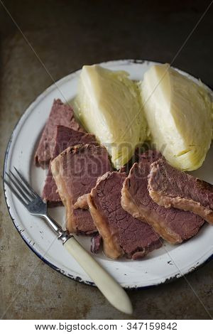 Close Up Of Irish American Corned Beef And Cabbage