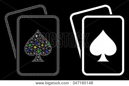 Bright Mesh Spade Gambling Cards Icon With Glitter Effect. Abstract Illuminated Model Of Spade Gambl