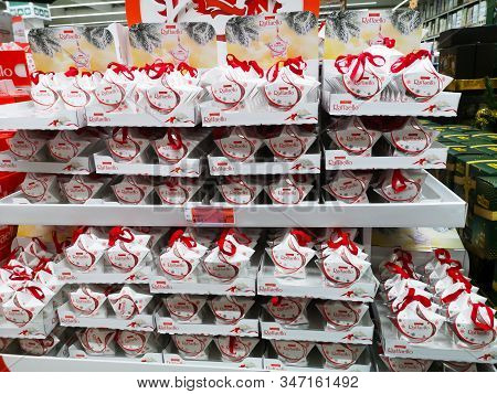 Italian Raffaello Candy On Shelf For Sale At Auchan Shopping Centre On December 25, 2019 In Russia,
