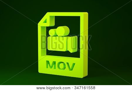Yellow Mov File Document. Download Mov Button Icon Isolated On Green Background. Mov File Symbol. Au