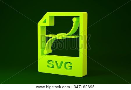 Yellow Svg File Document. Download Svg Button Icon Isolated On Green Background. Svg File Symbol. Mi