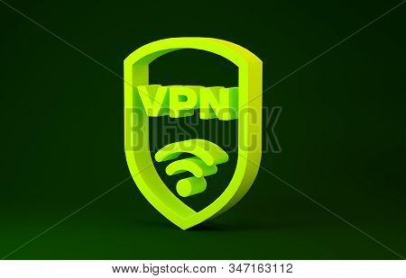 Yellow Shield With Vpn And Wifi Wireless Internet Network Symbol Icon Isolated On Green Background.