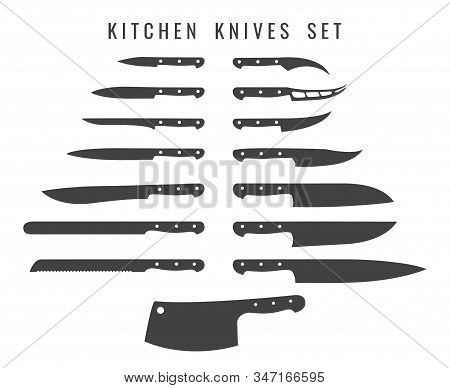 Chef Butcher Knifes. Cooking Knife Set Silhouettes, Butchers Kitchen Metalic Knives Steel Utensils,