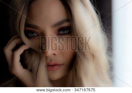 Portrait Closeup Beautiful Young Asian Woman. Charming Beautiful Young Girl Has Beautiful Face And B