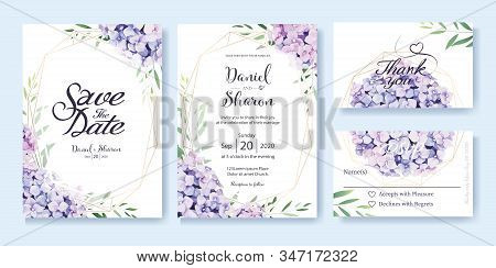 Wedding Invitation, Save The Date, Thank You, Rsvp Card Design Template. Vector. Hydrangea Flowers,