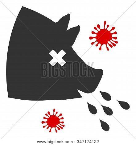 Raster Swine Flu V2 Flat Icon. Raster Pictograph Style Is A Flat Symbol Swine Flu V2 Icon On A White