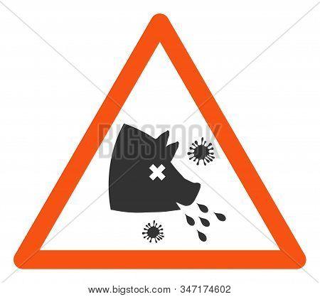 Raster Swine Flu Warning Flat Icon. Raster Pictograph Style Is A Flat Symbol Swine Flu Warning Icon