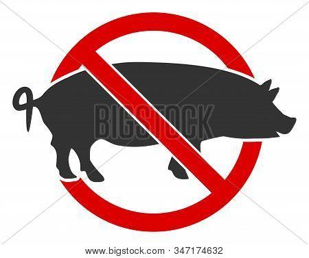 Raster No Swine Flat Icon. Raster Pictogram Style Is A Flat Symbol No Swine Icon On A White Backgrou