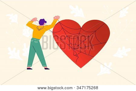 Metaphor Of Love, Locked Heart, Heart-free, Betrayal And Relationship. Man Frees A Heart Entangled I