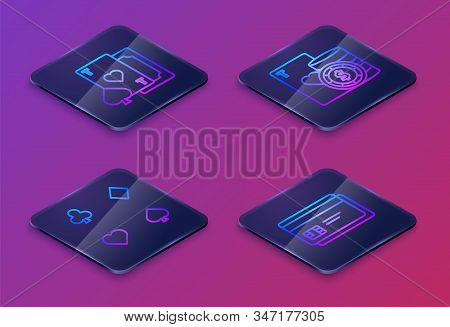 Set Isometric Line Playing Card With Heart, Playing Cards, Casino Chip And Playing Cards And Credit