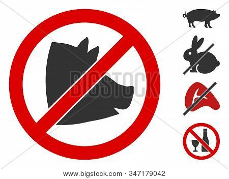 No Pig Icon. Illustration Contains Vector Flat No Pig Pictograph Isolated On A White Background, And