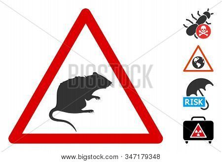 Rat Warning Icon. Illustration Contains Vector Flat Rat Warning Pictograph Isolated On A White Backg