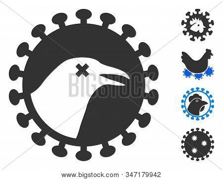 Bird Flu Virus Icon. Illustration Contains Vector Flat Bird Flu Virus Pictograph Isolated On A White