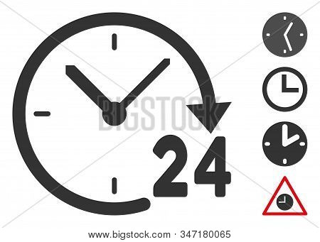 24 Hours Clock Icon. Illustration Contains Vector Flat 24 Hours Clock Pictograph Isolated On A White