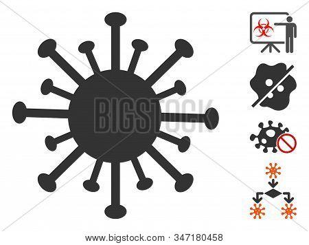 Coronavirus Icon. Illustration Contains Vector Flat Coronavirus Iconic Symbol Isolated On A White Ba