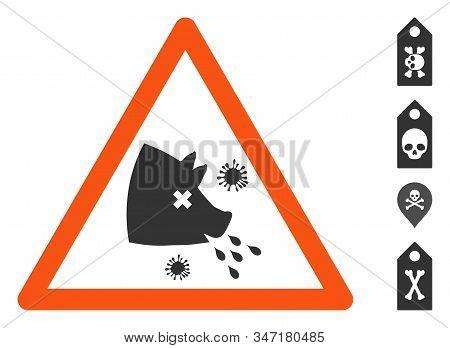 Swine Flu Warning Icon. Illustration Contains Vector Flat Swine Flu Warning Pictogram Isolated On A