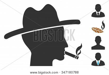 Cigarette Smoker Icon. Illustration Contains Vector Flat Cigarette Smoker Pictograph Isolated On A W