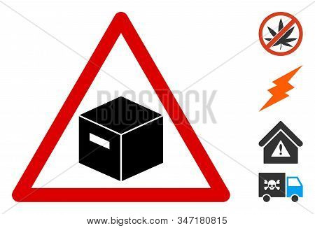 Parcel Warning Icon. Illustration Contains Vector Flat Parcel Warning Pictograph Isolated On A White