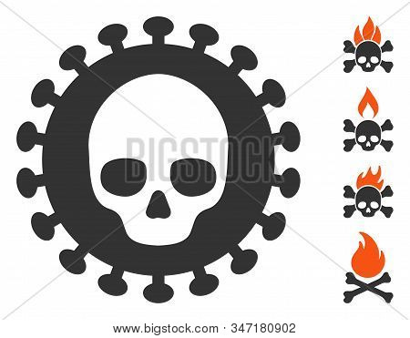 Mortal Virus Icon. Illustration Contains Vector Flat Mortal Virus Pictogram Isolated On A White Back