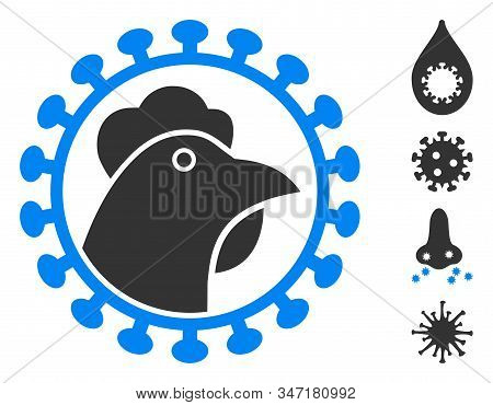 Chicken Flu Virus Icon. Illustration Contains Vector Flat Chicken Flu Virus Pictograph Isolated On A