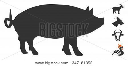 Pig Icon. Illustration Contains Vector Flat Pig Pictograph Isolated On A White Background, And Bonus