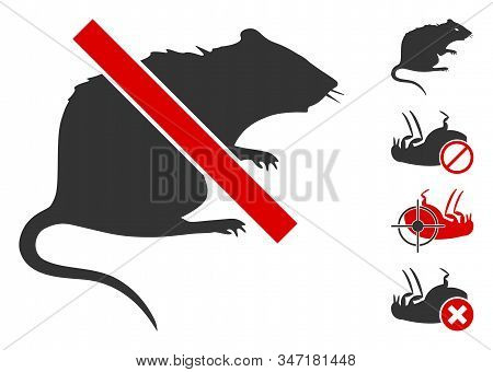 No Rat Icon. Illustration Contains Vector Flat No Rat Pictogram Isolated On A White Background, And