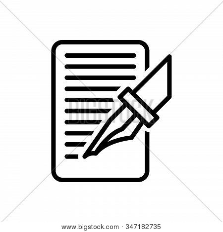 Black Line Icon For Write Bespoke Order Paper Pen Made Document