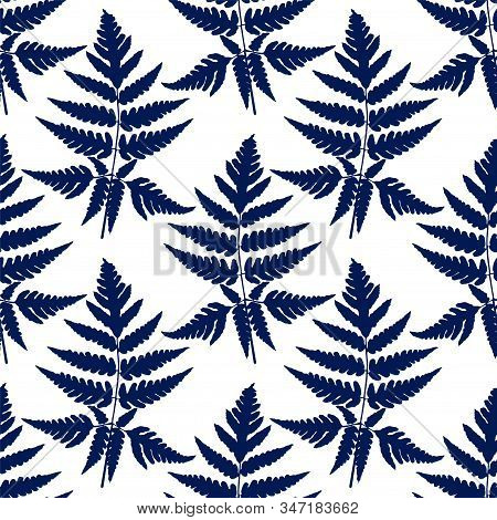 Blue Fern Frond Herbs, Tropical Forest Plant Leaves Seamless Vector Wrapping Paper. Modern Herbal Pa