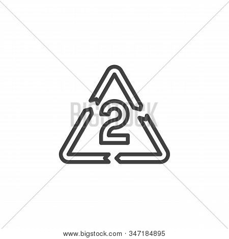 Hdpe 2, Industrial Marking Plastic Line Icon. Linear Style Sign For Mobile Concept And Web Design. H