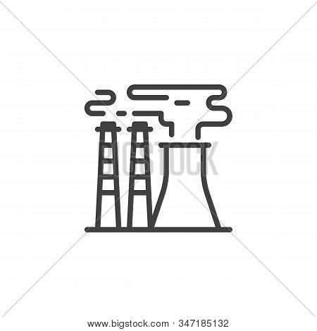 Industrial Chimney Pollution Line Icon. Linear Style Sign For Mobile Concept And Web Design. Power P