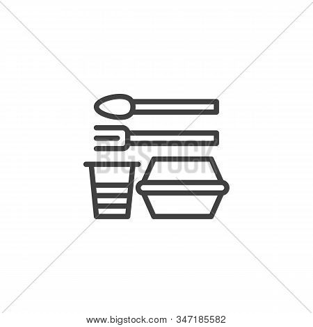 Disposable Plastic Tableware Line Icon. Linear Style Sign For Mobile Concept And Web Design. Disposa