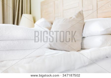 Fresh White Towel Pile In The Upscale Hotel Room. Being Alone, Getaway, Staycation, Digital Detox, T