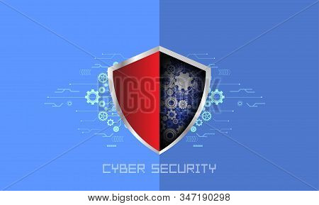 Cyber Security, Vector Illustration White Gear And Tree Cog Wheel On Circuit Board, Hi-tech Digital