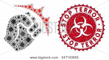 Coronavirus Mosaic Fist Strike Icon And Round Rubber Stamp Seal With Stop Terror Caption. Mosaic Vec