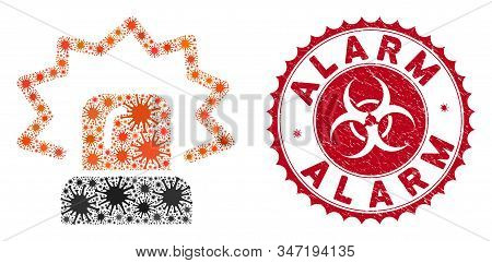 Coronavirus Mosaic Alarm Icon And Round Grunge Stamp Watermark With Alarm Caption. Mosaic Vector Is