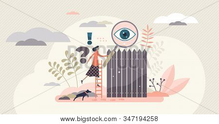 Curiosity Concept Vector Illustration. Flat Tiny Woman Person Learning And Exploring New Things. Wor