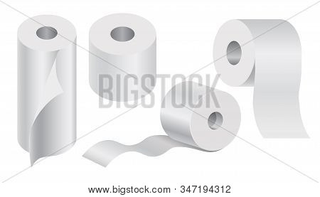White Toilet Paper Rolls And Kitchen Towel Mock Up Set