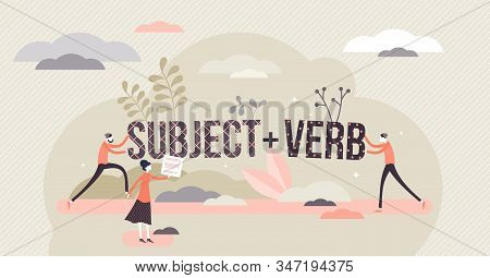 Sentence Structure With Subject And Verb, Flat Tiny Persons Concept Vector Illustration. Learning La