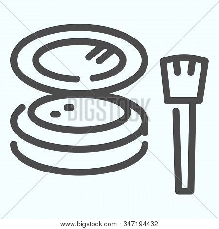 Cosmetic Makeup Powder And Brush Line Icon. Female Powder And Brush Vector Illustration Isolated On
