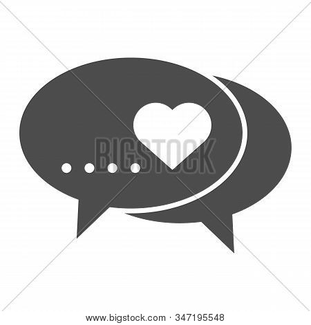 Love Dialogue Solid Icon. Romantic Messages With Heart Symbol Illustration Isolated On White. Love C