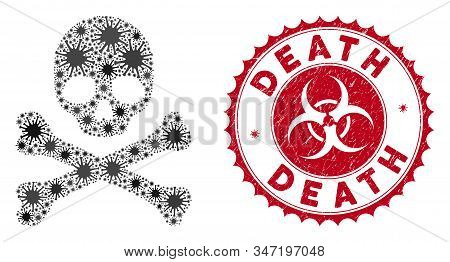 Coronavirus Mosaic Death Icon And Round Distressed Stamp Seal With Death Phrase. Mosaic Vector Is De