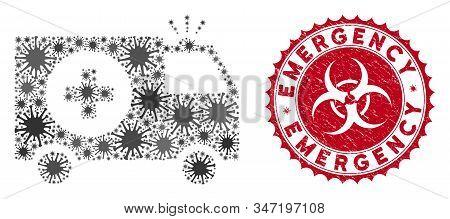 Coronavirus Mosaic Emergency Icon And Rounded Grunge Stamp Watermark With Emergency Caption. Mosaic