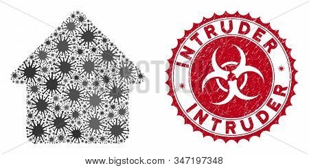 Coronavirus Mosaic Cabin Icon And Round Grunge Stamp Seal With Intruder Text. Mosaic Vector Is Creat