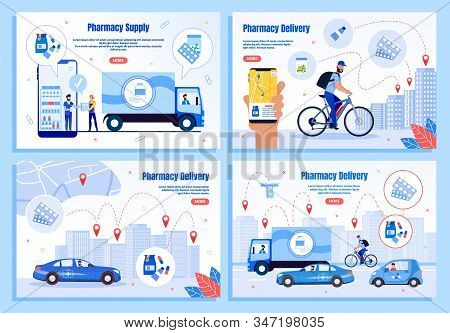 Medicines Delivery Company Or Service Trendy Flat Vector Web Banners, Landing Pages Templates Set. S