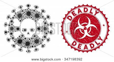 Coronavirus Mosaic Deadly Virus Icon And Round Distressed Stamp Seal With Deadly Text. Mosaic Vector