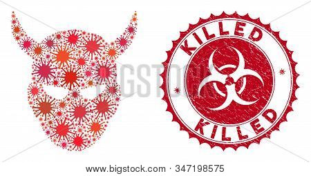 Coronavirus Collage Daemon Head Icon And Rounded Grunge Stamp Seal With Killed Text. Mosaic Vector I