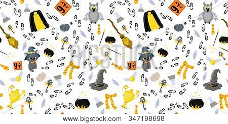 Youth Seamless Pattern. School Of Magic And Witchcraft. Magical Items. Broom For Flying, Talking Hat