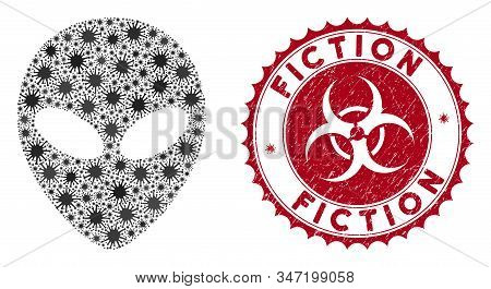 Coronavirus Mosaic Alien Face Icon And Rounded Grunge Stamp Seal With Fiction Text. Mosaic Vector Is