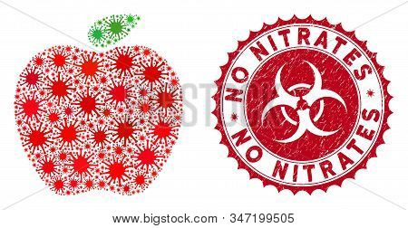Coronavirus Mosaic Apple Icon And Rounded Grunge Stamp Seal With No Nitrates Phrase. Mosaic Vector I